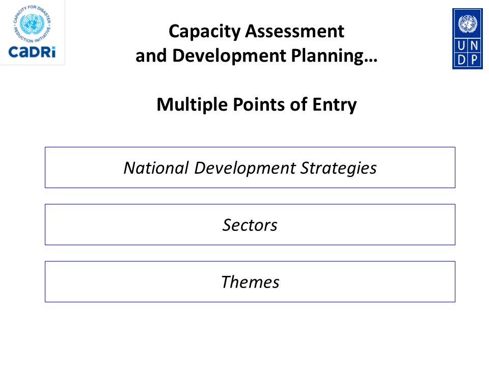 Capacity Assessment and Development Planning… Multiple Points of Entry