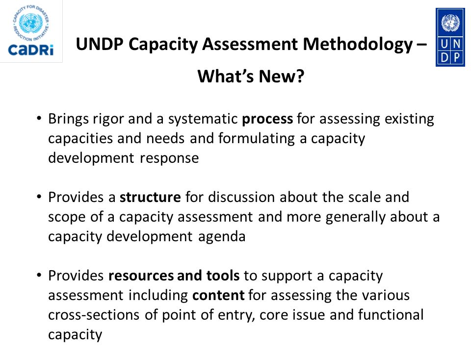 UNDP Capacity Assessment Methodology – What's New