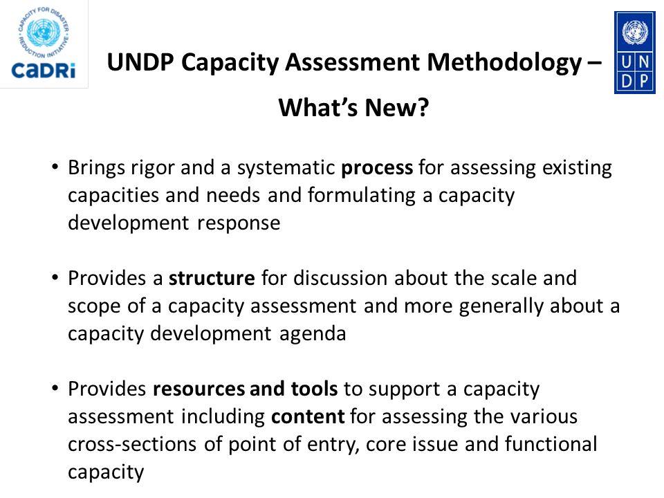 UNDP Capacity Assessment Methodology – What's New