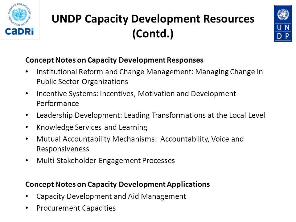 UNDP Capacity Development Resources (Contd.)