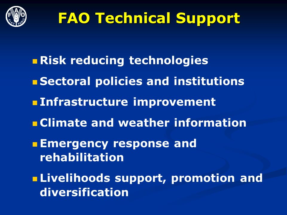 FAO Technical Support Risk reducing technologies