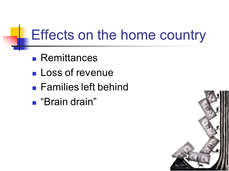 the impact of brain drain The brain drain may cause numerous positive effects for source countries it is well documented that remittances of employees' played a significant support to gnp of a country and are a.