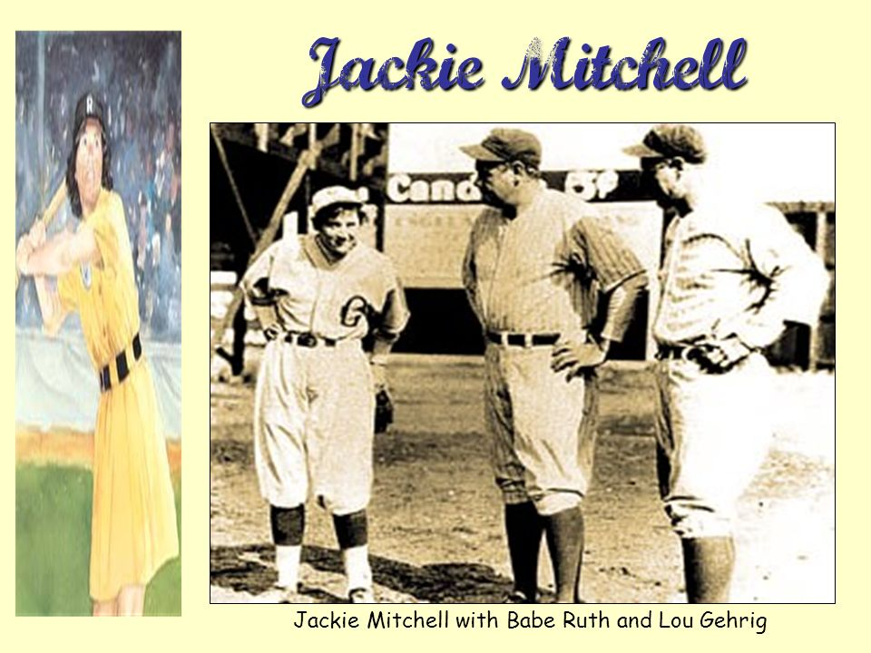 Jackie Mitchell with Babe Ruth and Lou Gehrig