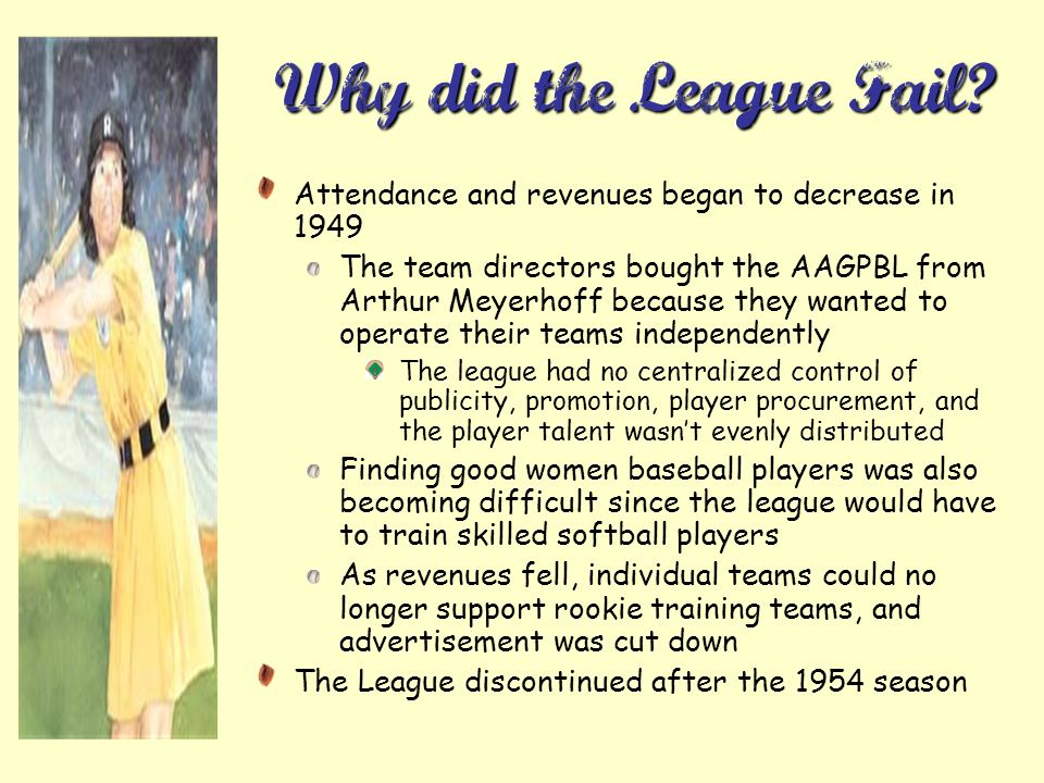 Why did the League Fail Attendance and revenues began to decrease in 1949.