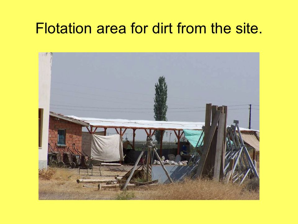 Flotation area for dirt from the site.
