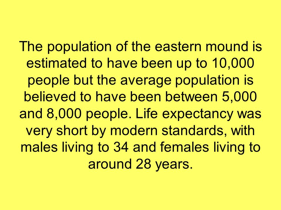 The population of the eastern mound is estimated to have been up to 10,000 people but the average population is believed to have been between 5,000 and 8,000 people.
