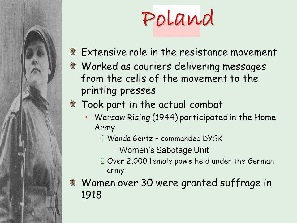 Poland Extensive role in the resistance movement