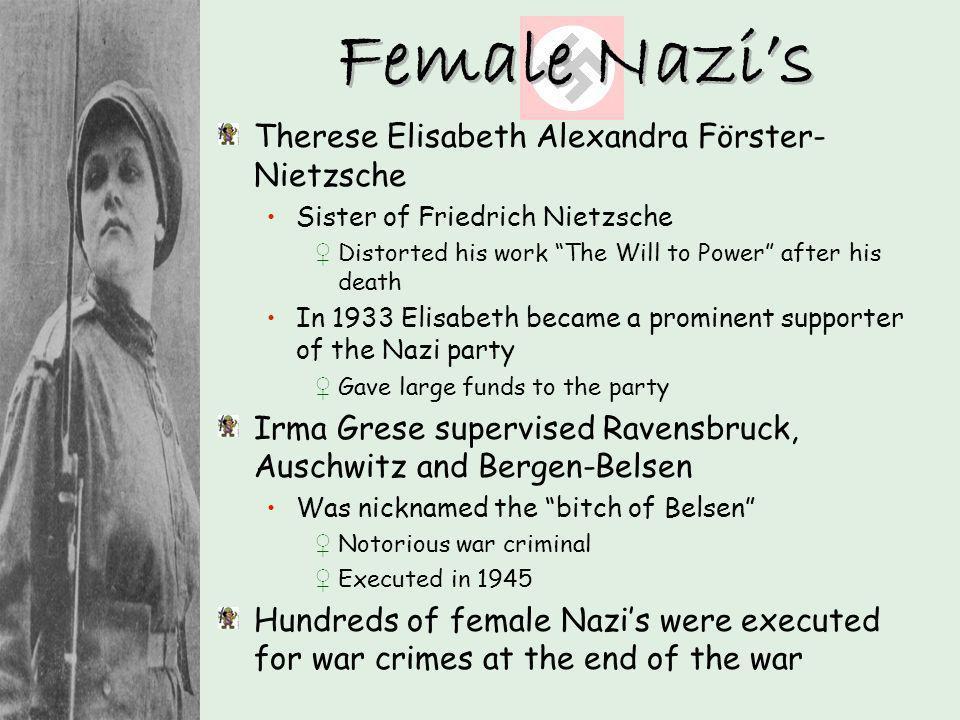 Female Nazi's Therese Elisabeth Alexandra Förster-Nietzsche