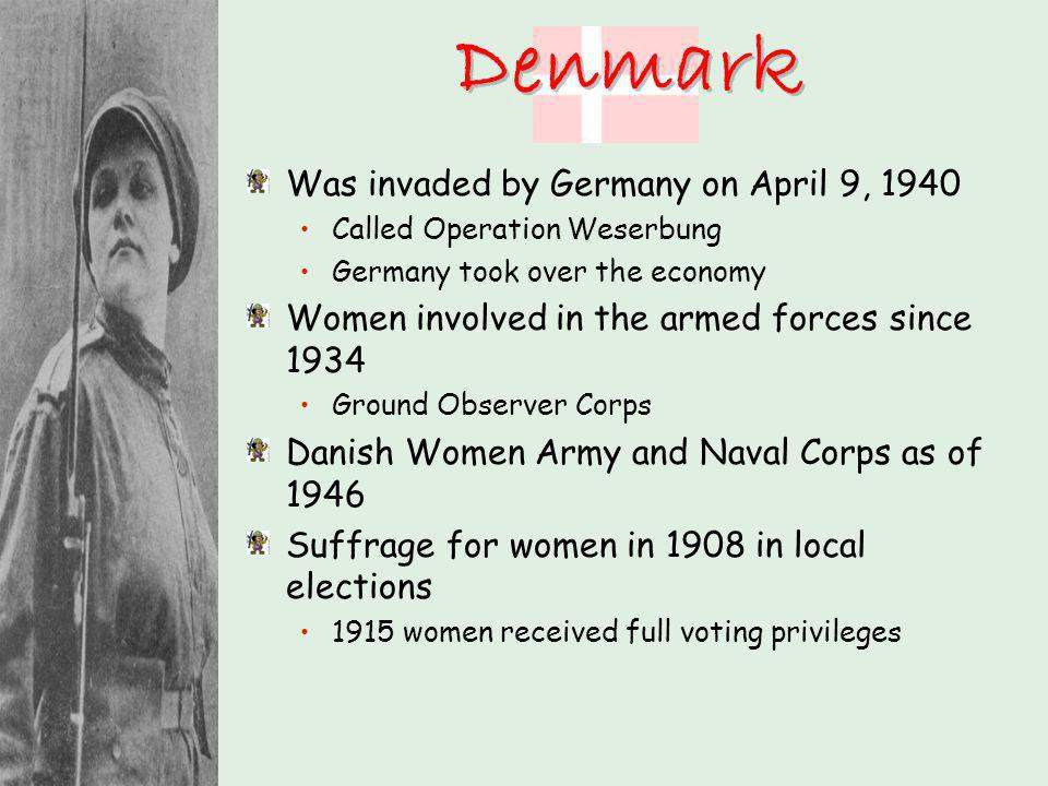 Denmark Was invaded by Germany on April 9, 1940