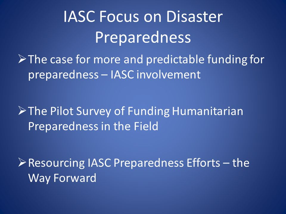 IASC Focus on Disaster Preparedness