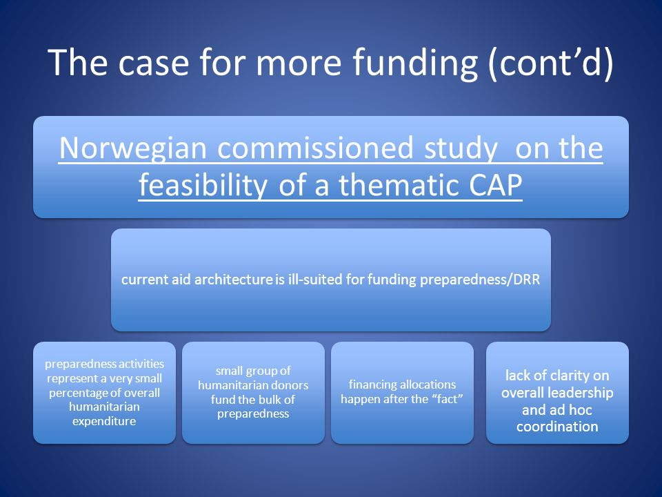 The case for more funding (cont'd)