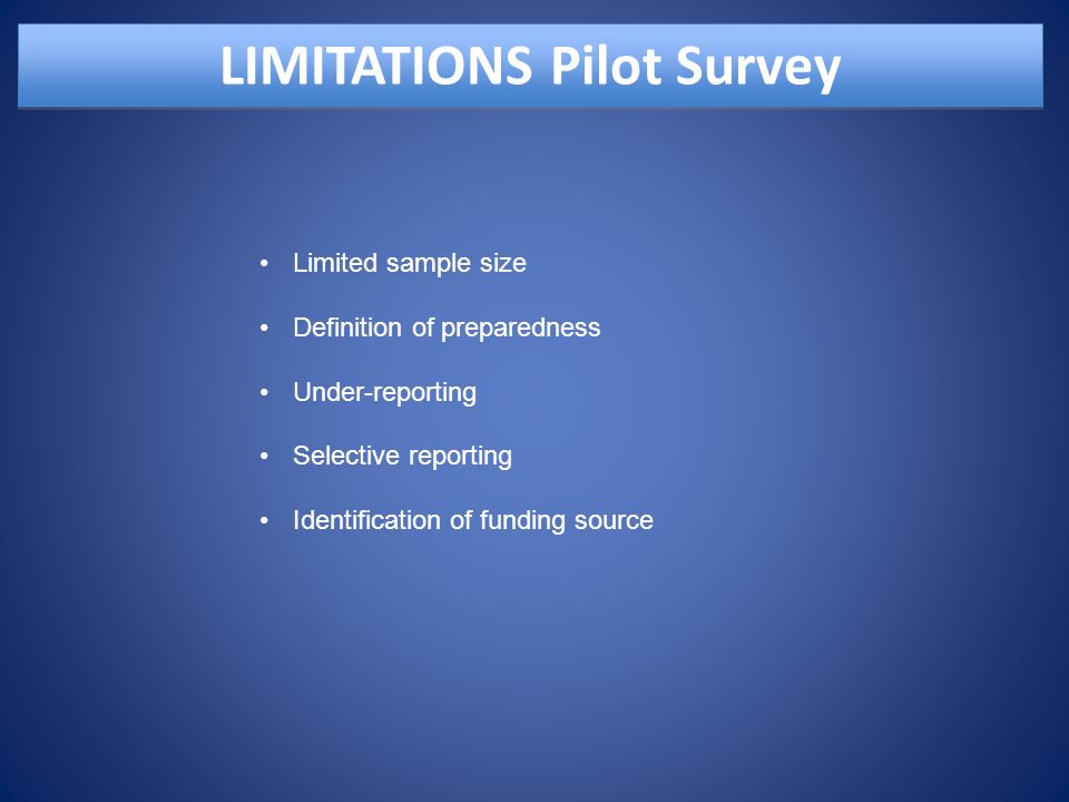 LIMITATIONS Pilot Survey