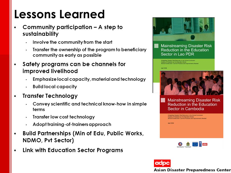 Lessons Learned Community participation – A step to sustainability