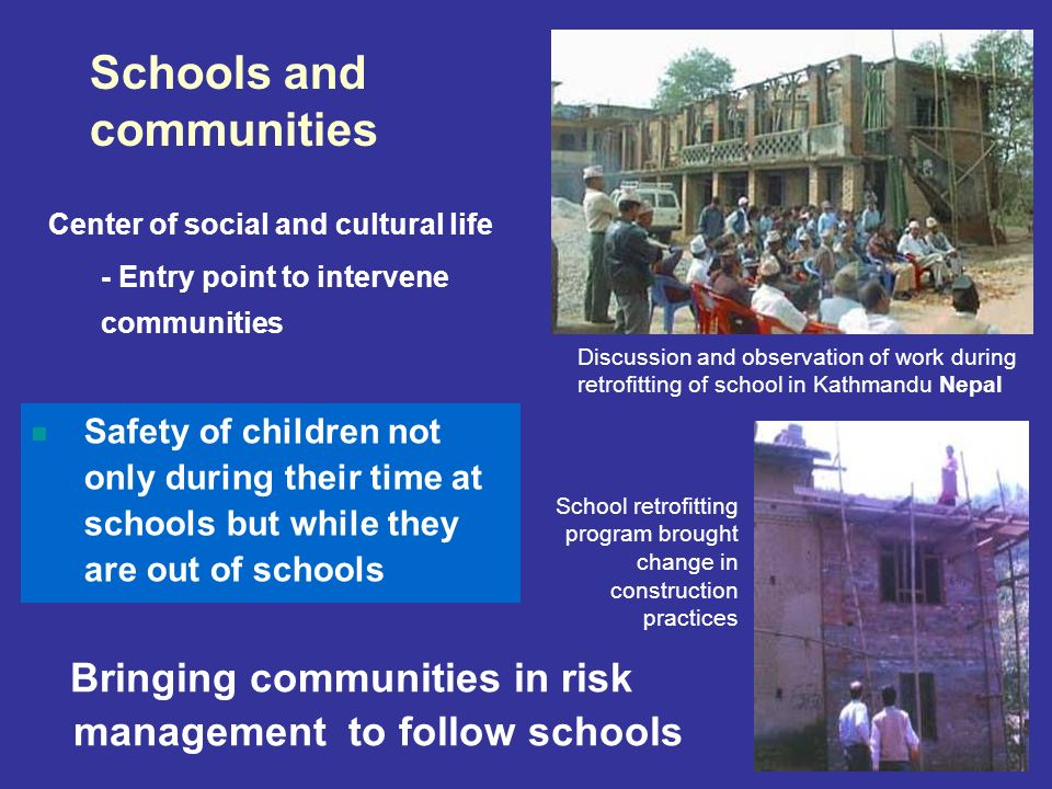 Bringing communities in risk management to follow schools