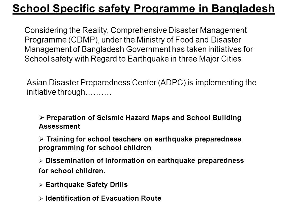 School Specific safety Programme in Bangladesh