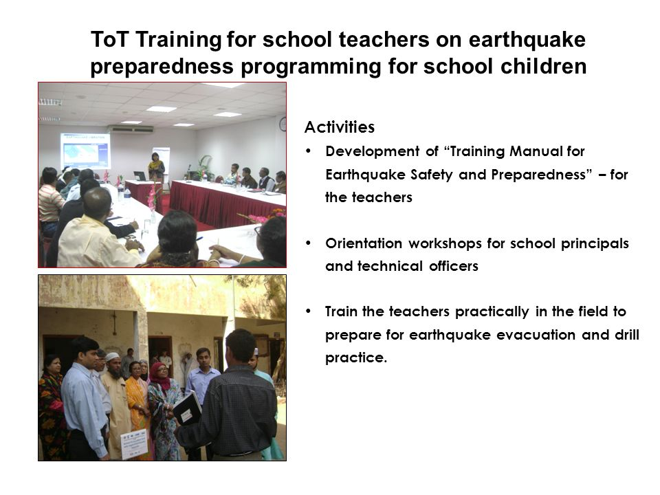 ToT Training for school teachers on earthquake preparedness programming for school children