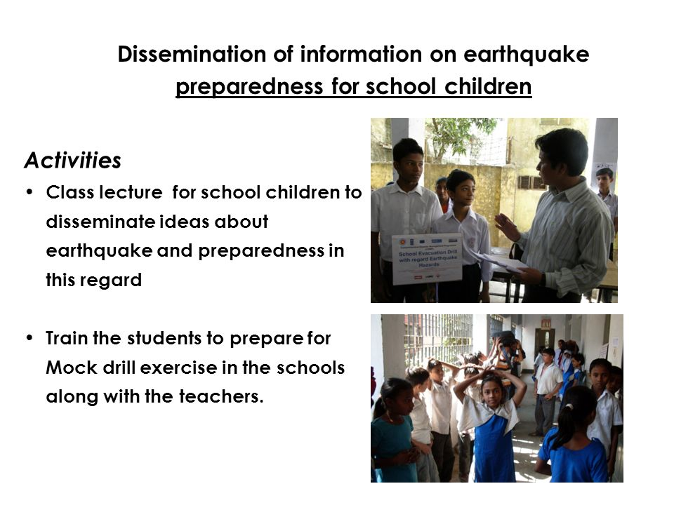Dissemination of information on earthquake preparedness for school children