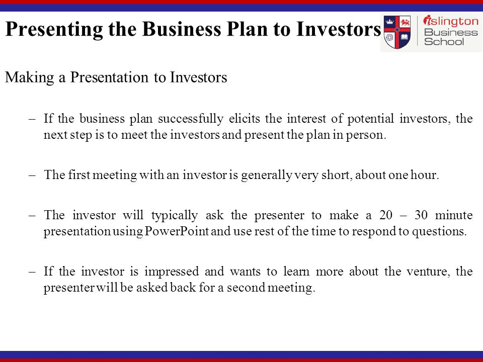 how to do a business plan presentation