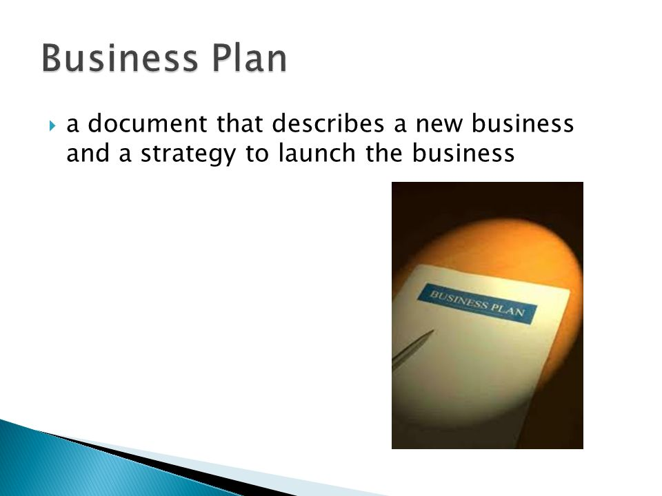 Business Plan a document that describes a new business and a strategy to launch the business