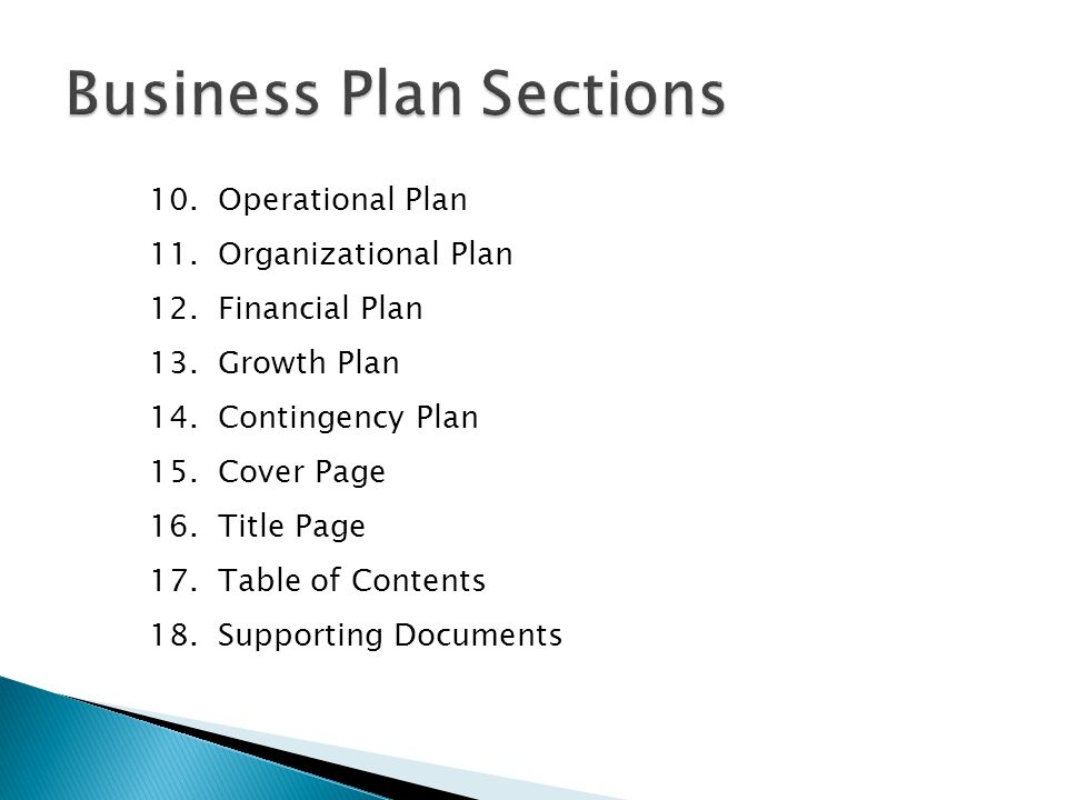 Table Of Contents Of A Business Plan
