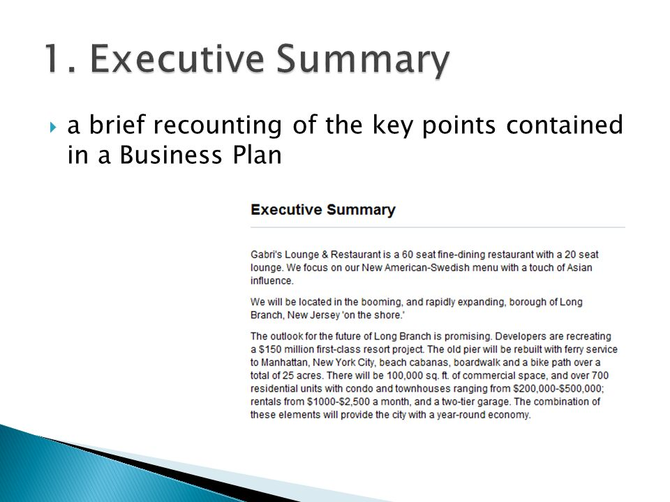1. Executive Summary a brief recounting of the key points contained in a Business Plan