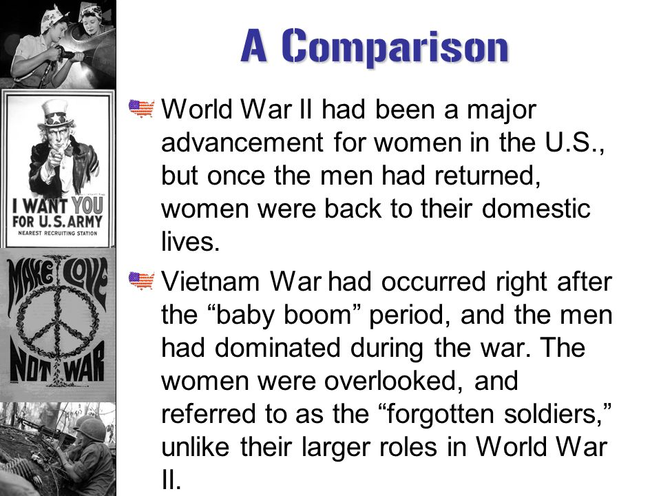 the effects that world war ii had on women What effects did world war 2 on women in america in ww2 women had to create weapons, make food, and work in factories because all the men were at war hope this helps =.