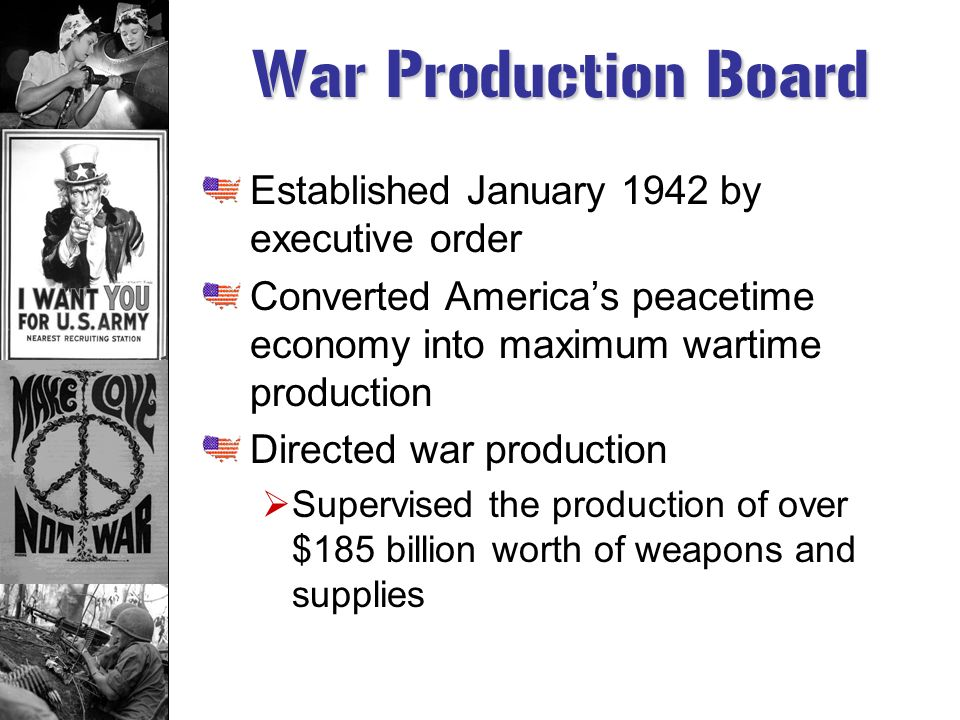 War Production Board Established January 1942 by executive order