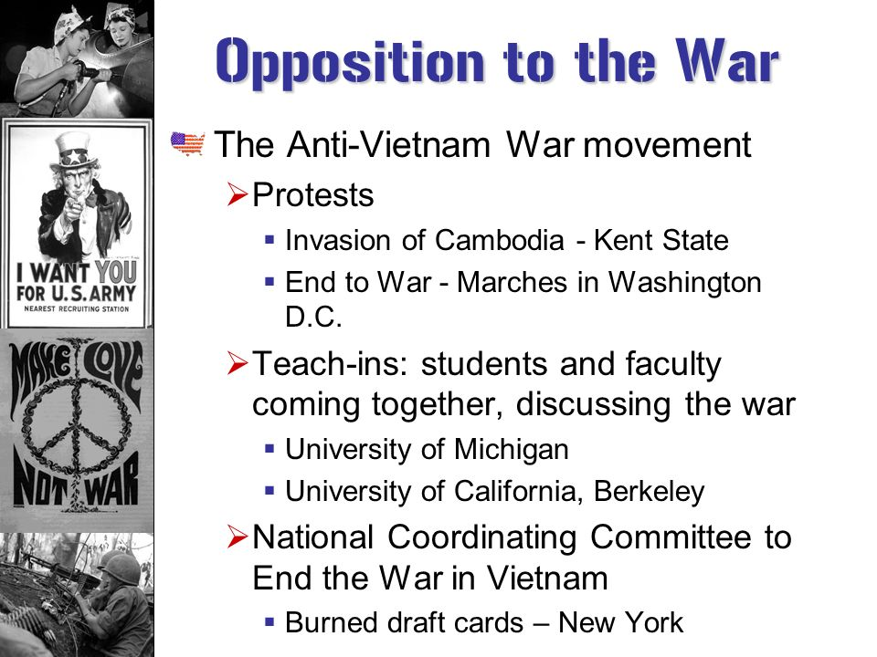 Opposition to the War The Anti-Vietnam War movement Protests