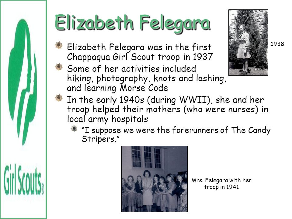 Mrs. Felegara with her troop in 1941
