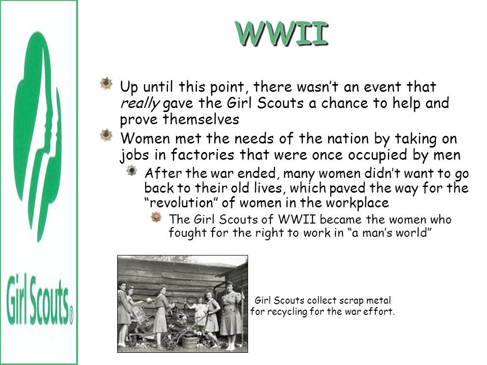 Girl Scouts collect scrap metal for recycling for the war effort.