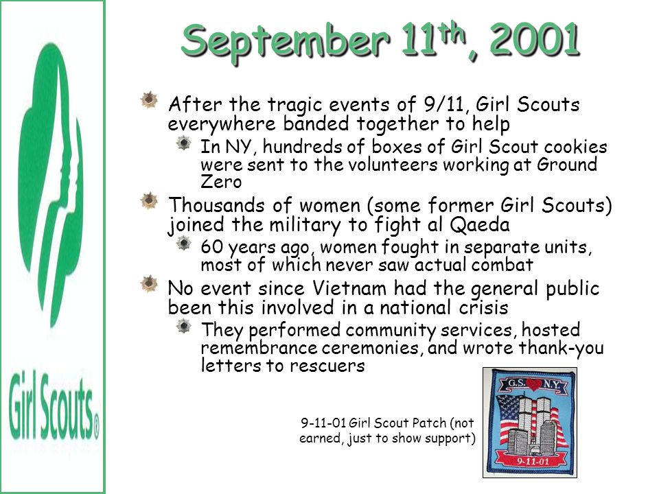 9-11-01 Girl Scout Patch (not earned, just to show support)