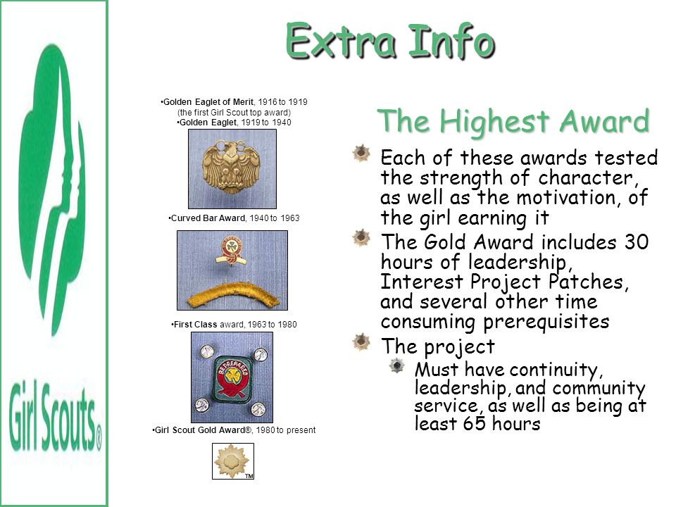Extra Info The Highest Award