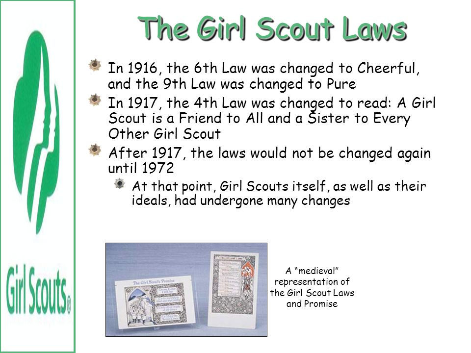 A medieval representation of the Girl Scout Laws and Promise