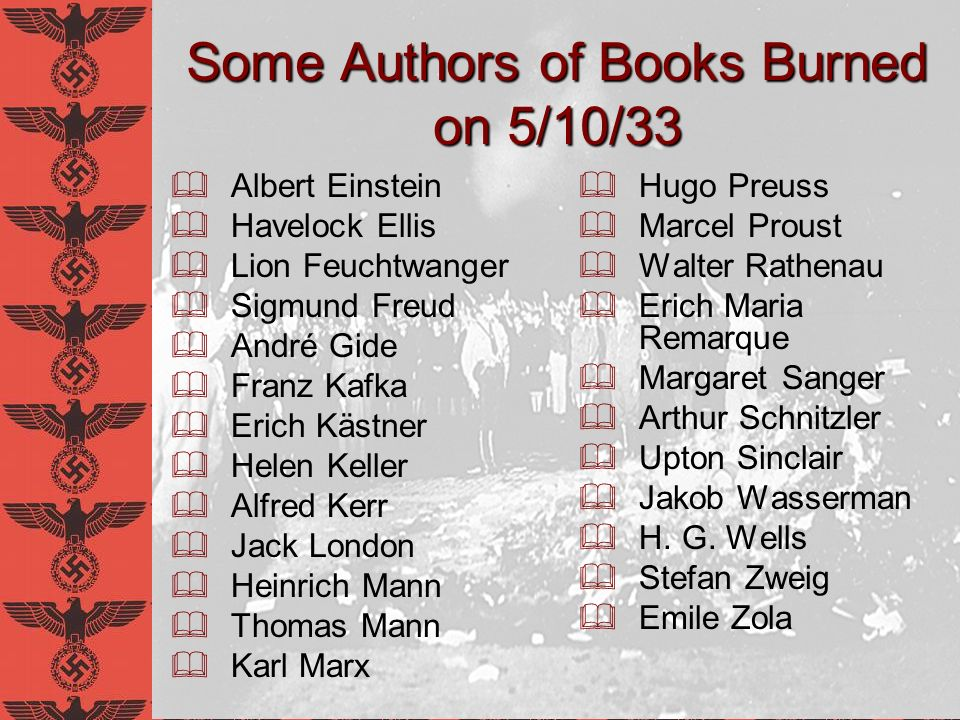Some Authors of Books Burned on 5/10/33