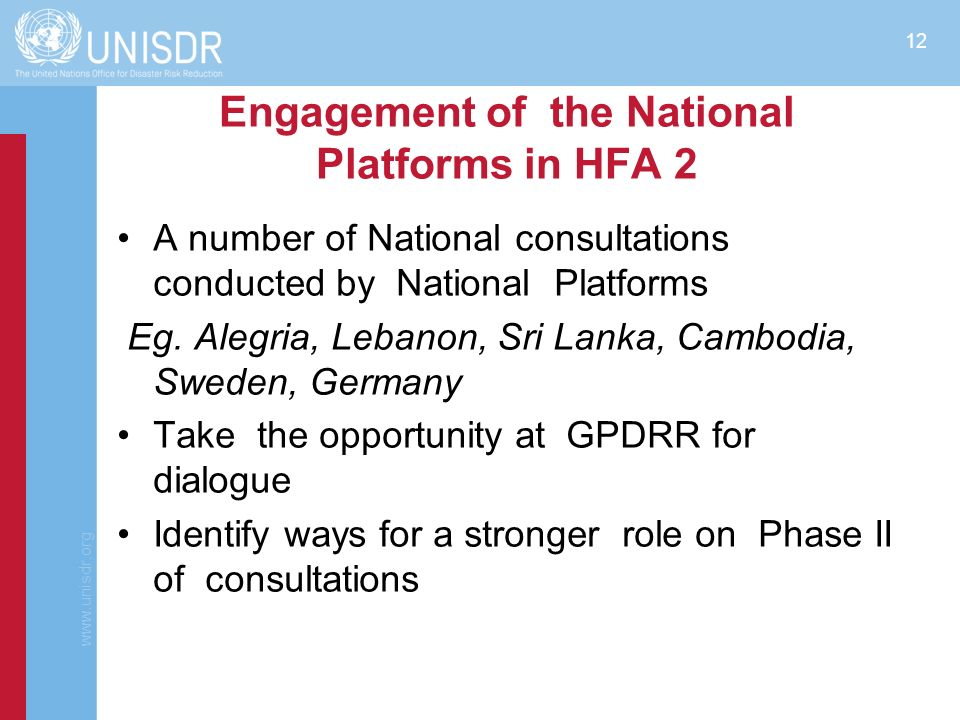 Engagement of the National Platforms in HFA 2