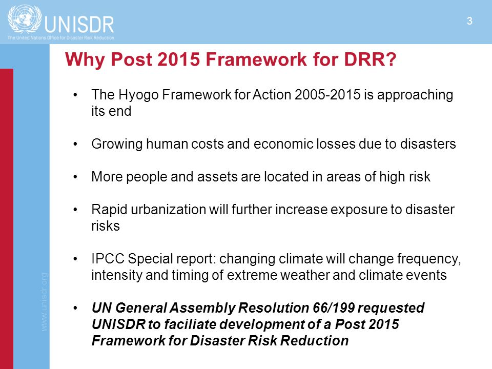 Why Post 2015 Framework for DRR