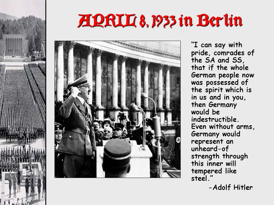 APRIL 8, 1933 in Berlin