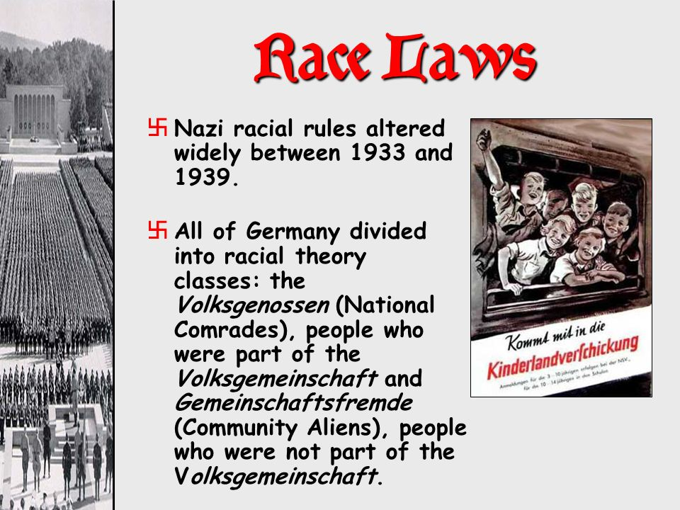 Race Laws Nazi racial rules altered widely between 1933 and 1939.