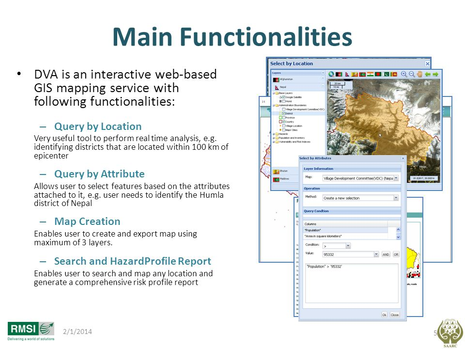 Main Functionalities DVA is an interactive web-based GIS mapping service with following functionalities: