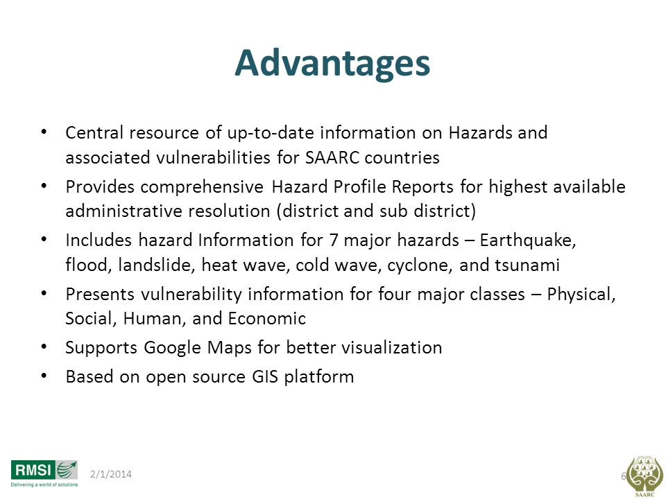 Advantages Central resource of up-to-date information on Hazards and associated vulnerabilities for SAARC countries.