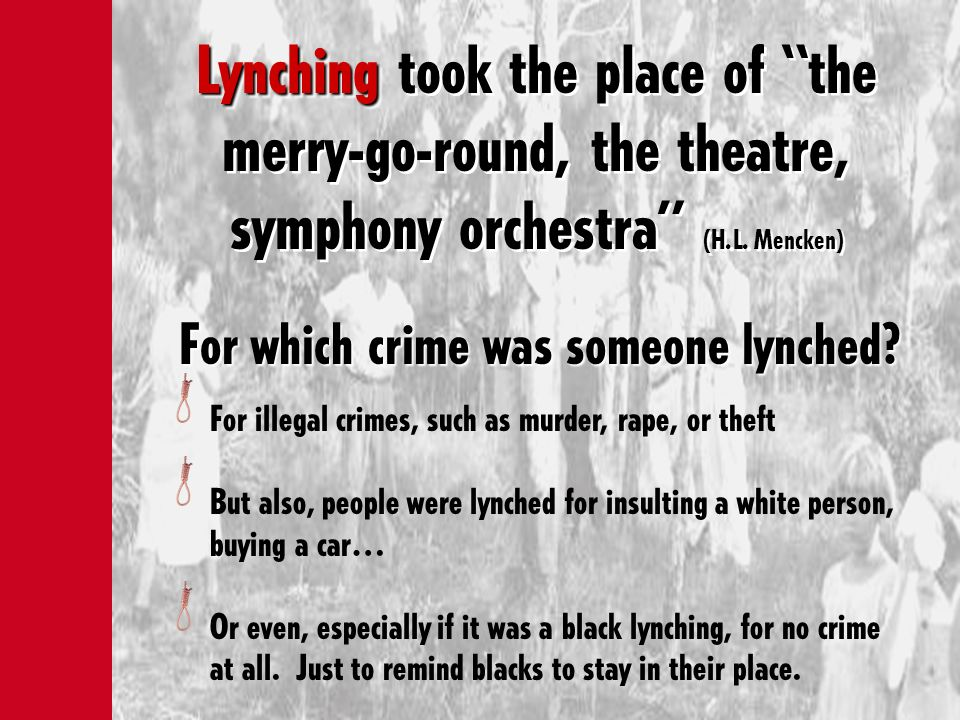 For which crime was someone lynched
