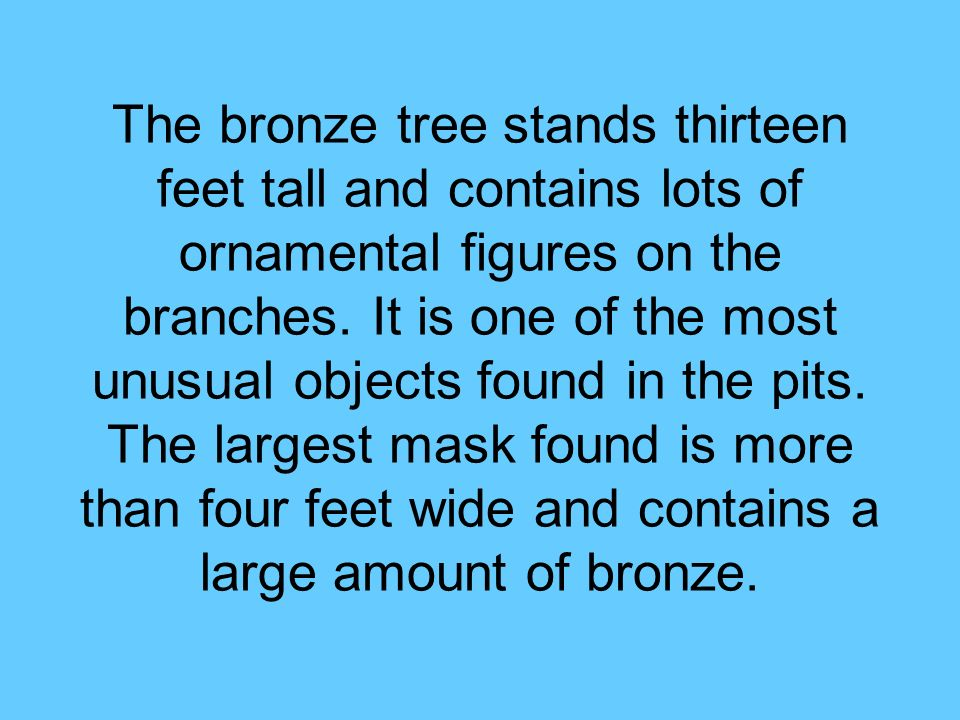 The bronze tree stands thirteen feet tall and contains lots of ornamental figures on the branches.