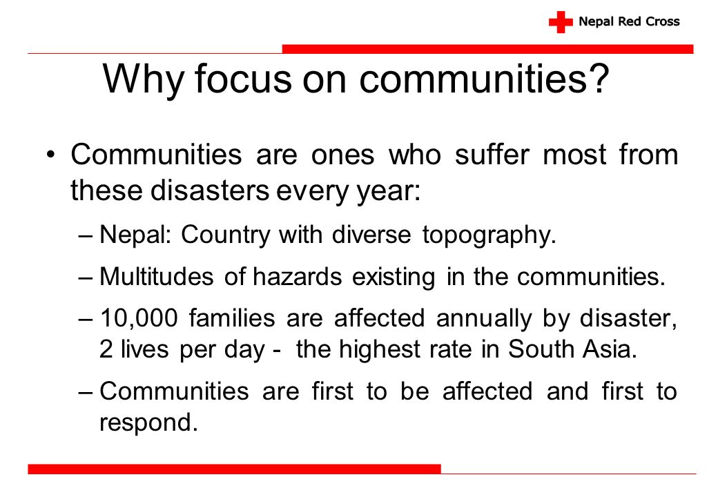 Why focus on communities