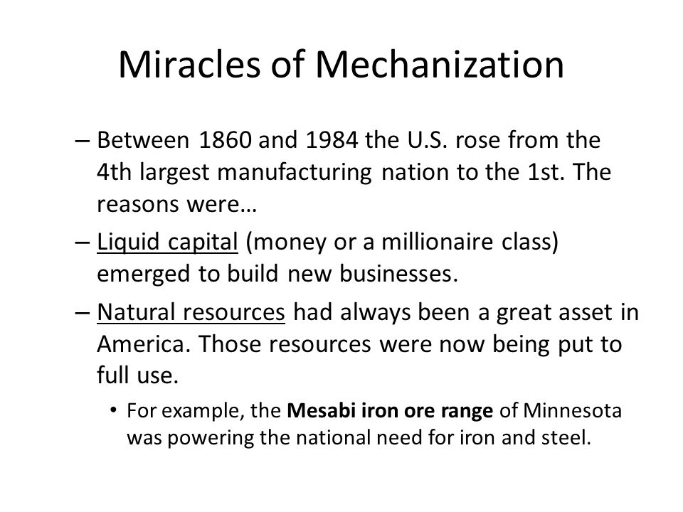 Miracles of Mechanization