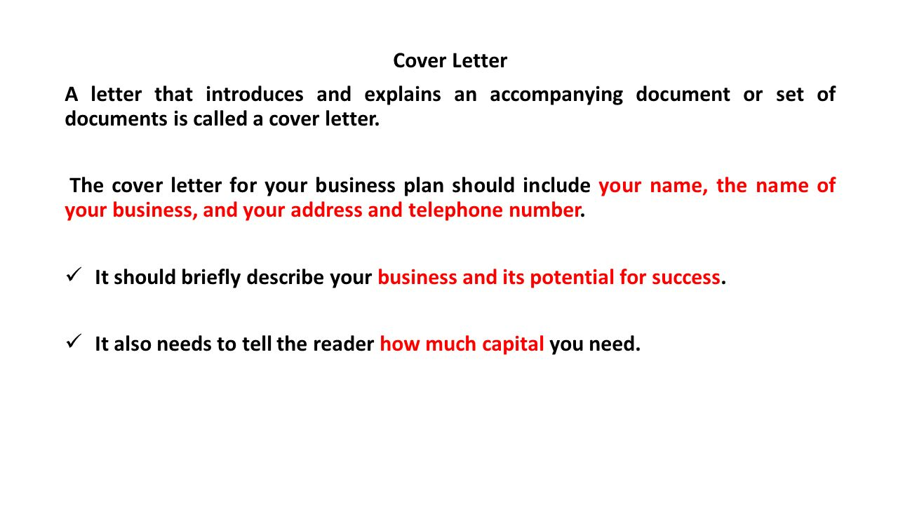 Business plan what is a business plan ppt video online for What should be the name of cover letter