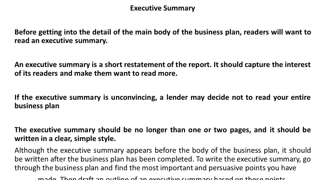 the executive summary of a business plan