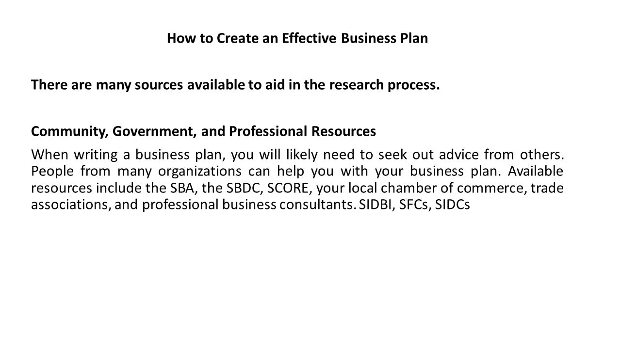 Business plan resources needed to produce