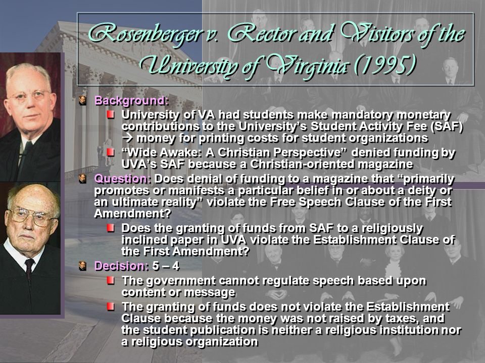 Rosenberger v. Rector and Visitors of the University of Virginia (1995)