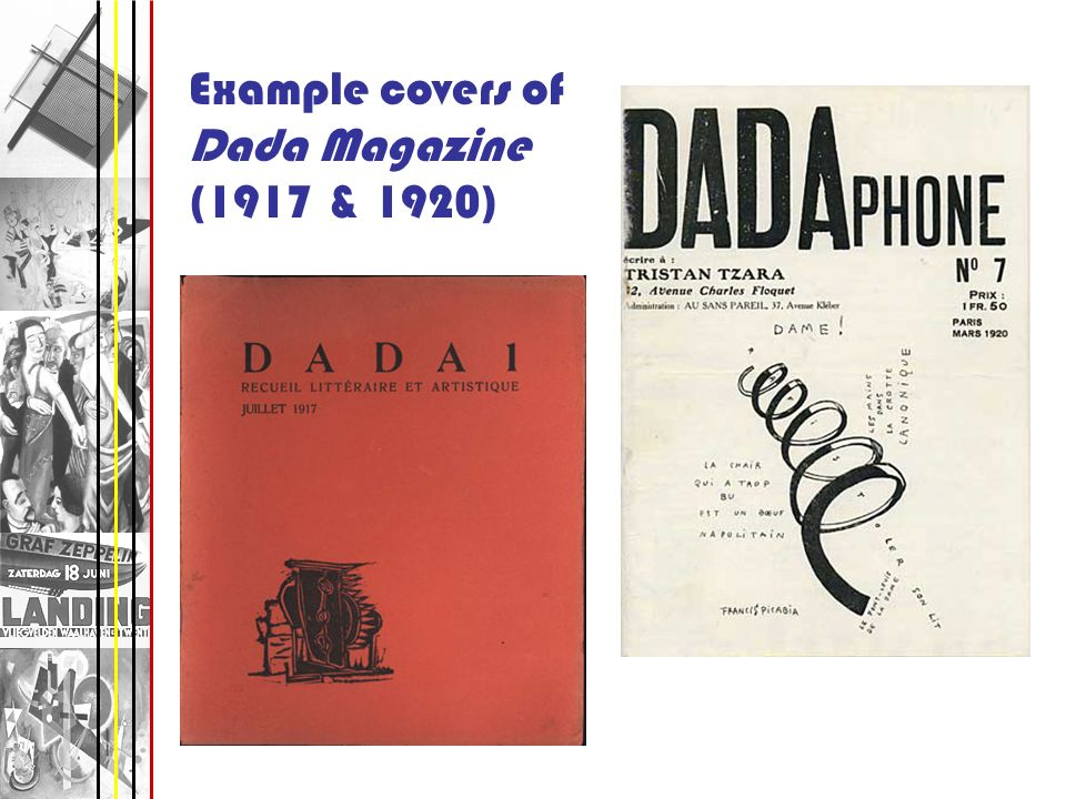 Example covers of Dada Magazine (1917 & 1920)