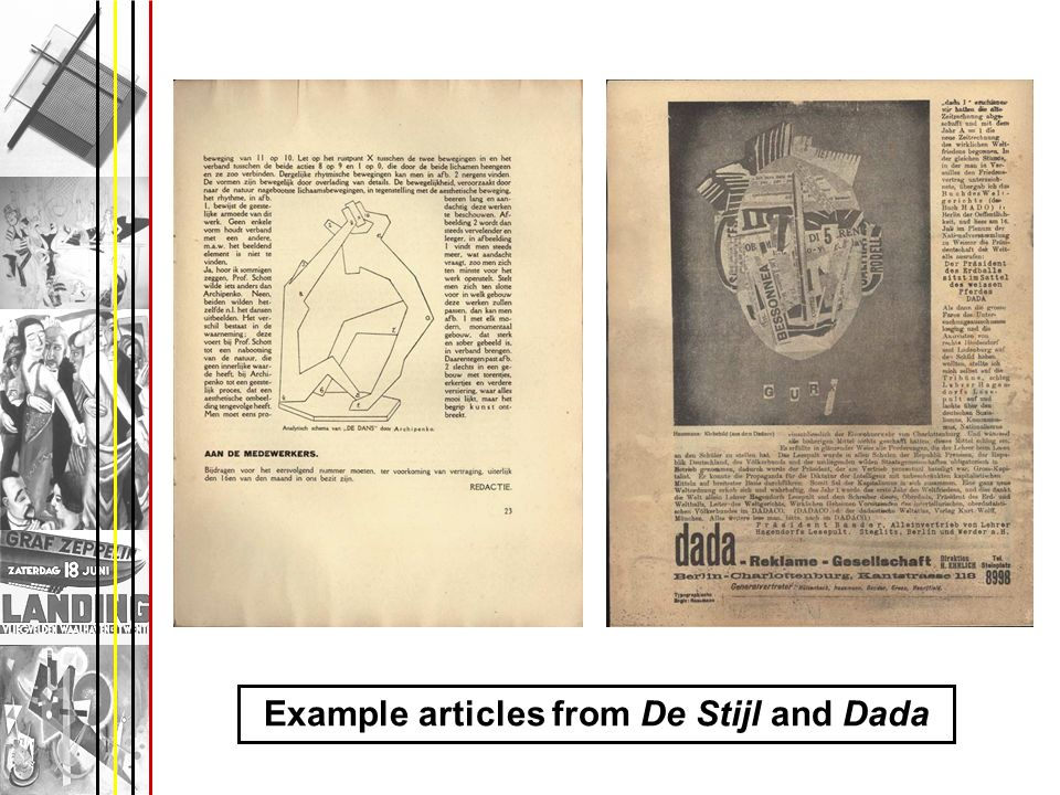 Example articles from De Stijl and Dada